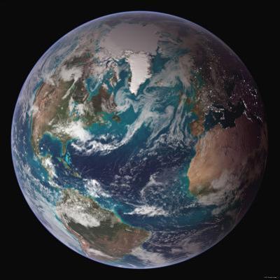 Planet Earth Western Hemisphere, NASA Satellite Composite by Stocktrek Images