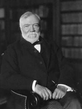 Portrait of Andrew Carnegie Seated in a Library by Stocktrek Images