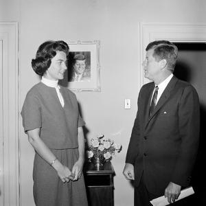 President John F. Kennedy with a Former White House Staff Member by Stocktrek Images
