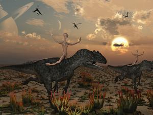 Reptoids Race Allosaurus Dinosaurs across the Desert by Stocktrek Images