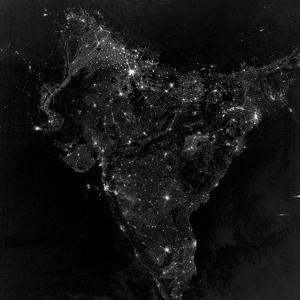Satellite View of City, Village, And Highway Lights in India by Stocktrek Images