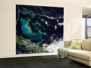 Satellite View of the Bahama Islands in the Atlantic Ocean by Stocktrek Images