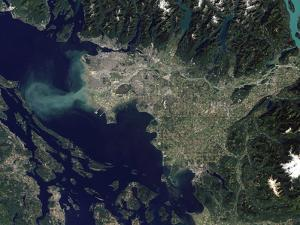 Satellite View of the Frasier River, British Columbia, Canada by Stocktrek Images