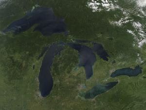 Satellite View of the Great Lakes by Stocktrek Images