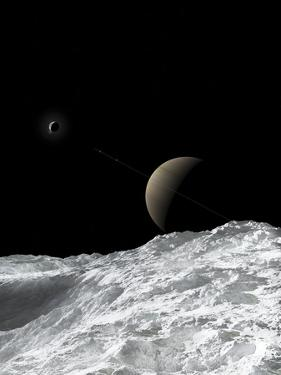Saturn and Enceladus as Seen from the Moon Tethys by Stocktrek Images