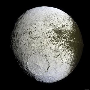 Saturn's Moon Iapetus by Stocktrek Images