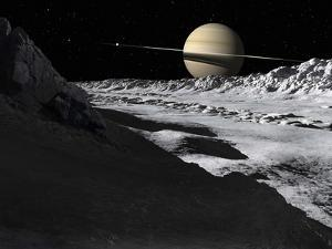 Saturn's Moon, Tethys, Is Split by an Enormous Valley Called Ithaca Chasma by Stocktrek Images