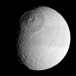 Saturn's Moon Tethys by Stocktrek Images
