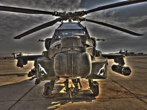 Seven Exposure HDR Image of an AH-64D Apache Helicopter as it Sits on its Pad by Stocktrek Images