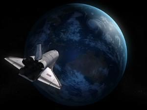 Space Shuttle Backdropped Against Earth by Stocktrek Images