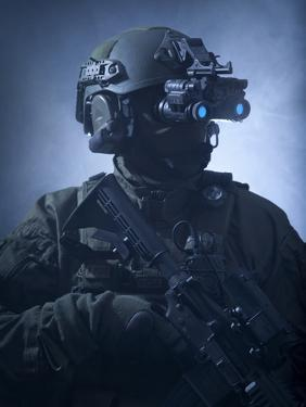 Special Operations Forces Soldier Equipped with Night Vision by Stocktrek Images
