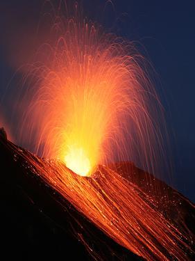 Strombolian Eruption of Stromboli Volcano, Aeolian Islands, Mediterranian Sea, Italy by Stocktrek Images