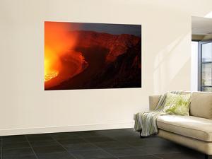 Summit Caldera with Lava Lake, Nyiragongo Volcano, Democratic Republic Congo by Stocktrek Images