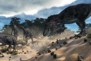 Tarbosaurus Surprising a Herd of Saurolophus Dinosaurs by Stocktrek Images