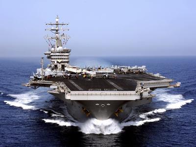 The Aircraft Carrier USS Dwight D. Eisenhower Transits the Arabian Sea