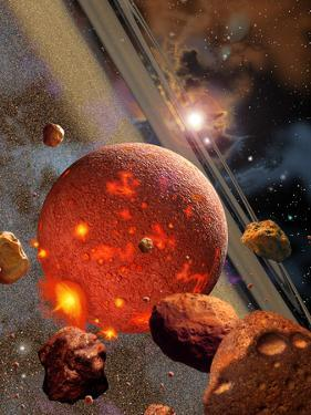 The Primordial Earth Being Formed by Asteroid-Like Bodies by Stocktrek Images