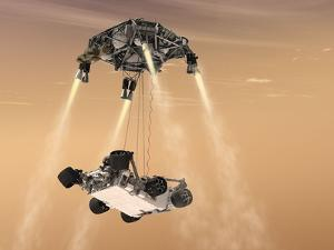 The Sky Crane Maneuver During the Descent of NASA's Curiosity Rover by Stocktrek Images