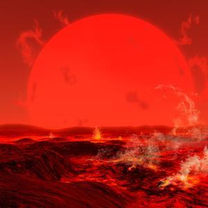 The Sun Seen from a Molten Earth 3 Billion Years from Now by Stocktrek Images