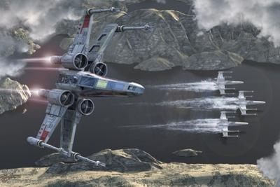 Top View of a Group of X-Wings Flying Low in a River Valley by Stocktrek Images