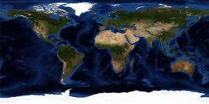 Topographic & Bathymetric Shading of Full Earth by Stocktrek Images