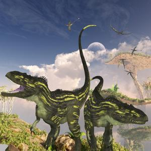 Torvosaurus Dinosaurs on a Cliff Searching for Prey by Stocktrek Images