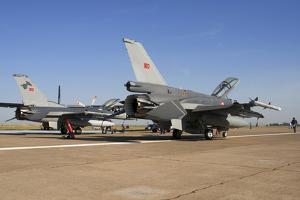 Turkish Air Force F-16's on the Ramp at Izmir Air Station, Turkey by Stocktrek Images
