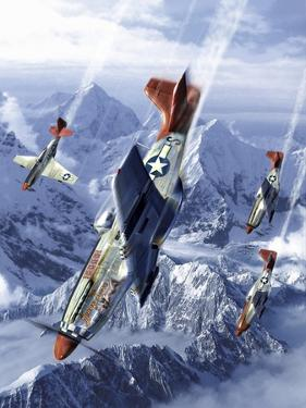 Tuskegee Airmen Flying Near the Alps in their P-51 Mustangs by Stocktrek Images