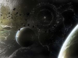 Two Alien Destroyer Vessels Patrol the Orbit of their Immensely Large Homeworld by Stocktrek Images