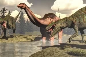 Two Allosaurus Dinosaurs Attacking a Large Apatosaurus by Stocktrek Images