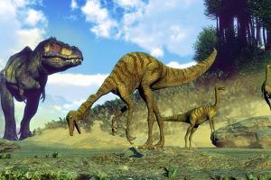 Tyrannosaurus Rex Surprising a Herd of Gallimimus Dinosaurs by Stocktrek Images