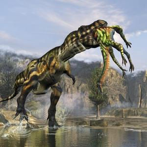 Tyrannosaurus Rex with a Freshly Killed Deinocheirus in its Mouth by Stocktrek Images