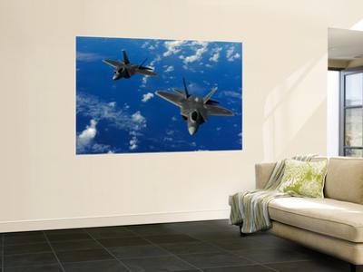 U.S. Air Force F-22 Raptors in Flight Near Guam by Stocktrek Images