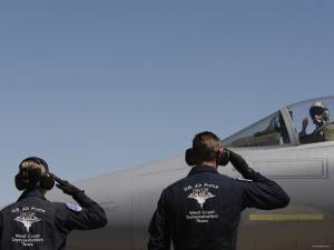 U.S. Air Force Senior Airmen Salute the Captain during Sentry Eagle, August 11, 2007 by Stocktrek Images