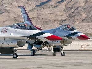 U.S. Air Force Thunderbirds on the Ramp at Nellis Air Force Base, Nevada by Stocktrek Images