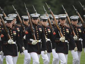 U.S. Marines March by During the Pass And Review Portion of the Sunset Parade in Arlington by Stocktrek Images