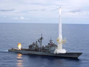 USS Cowpens Fires Standard Missiles 2 at An Airborne Drone by Stocktrek Images