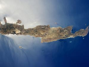 View from Space of the Island of Crete by Stocktrek Images