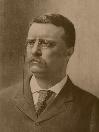 Vintage American History Print of a Younger President Theodore Roosevelt