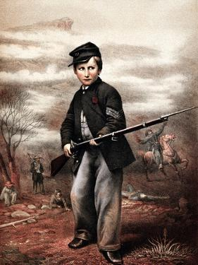 Vintage Civil War Print of a Union Drummer Boy Holding a Rifle On Battlefield by Stocktrek Images
