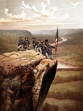 Vintage Civil War Print of Union Soldiers On the Summit of Lookout Mountain by Stocktrek Images