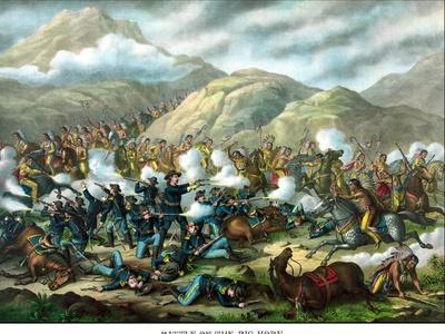 Vintage Military Print Featuring the Battle of Little Bighorn