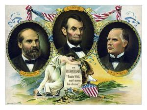 Vintage Print of Presidents James Garfield, Abraham Lincoln, and William Mckinley by Stocktrek Images