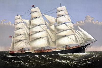 Vintage Print of the Clipper Ship Three Brothers by Stocktrek Images