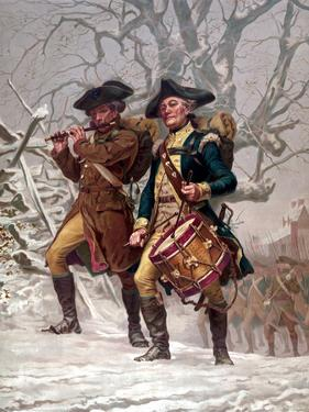 Vintage Revolutionary War Print of American Minutemen by Stocktrek Images