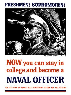 Vintage World War II Poster of a U.S. Naval Officer Holding Binoculars by Stocktrek Images