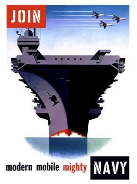 Vintage World War II Poster of An Aircraft Carrier with Three Planes Flying Overhead by Stocktrek Images