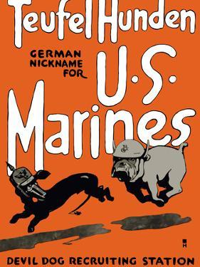 Vintage World War One Poster of a Marine Corps Bulldog Chasing a German Dachshund by Stocktrek Images