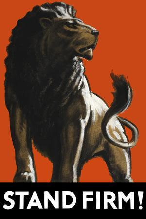 Vintage World Ware II Poster Featuring a Male Lion