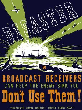 Vintage WPA Poster of a Ship Sending Out Radio Waves During Combat by Stocktrek Images