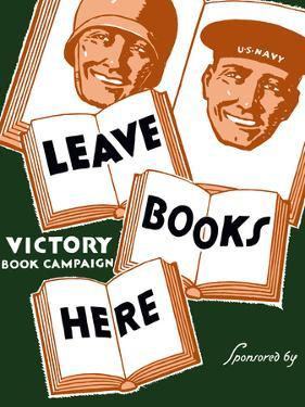 Vintage WPA Poster of Several Books And the Faces of a Soldier And a Sailor by Stocktrek Images